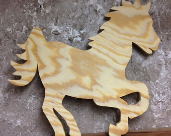 PWH Unfinished Ready To Paint Wood Horse Cutout Handcrafted From BC Pine Plywood Exterior 3 sizes