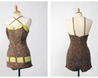 JANTZEN vintage 1950s swimsuit one piece - size M/L