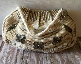 Vintage Beaded Purse, Beaded Clutch, Vintage Small Purse, Formal Clutch Evening Bag, Vintage Satchel