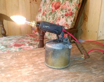 Upcycled Blow Torch Lamp Vintage Brass Desk Lamp Industrial Steampunk Loft Decor Pub Decor Man Cave British Vintage Made in England