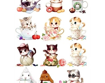 Cute Cat Collection Offset Printing Iron On Transfer Hot Flocking Tape Sticker Plate Backing Painting P05