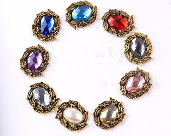 Sale Rhinestone Crystal Flatback Button Brooch Pearl Bronze Napkin Ring Hair Clip Embellishment Jewelry Supplies R02