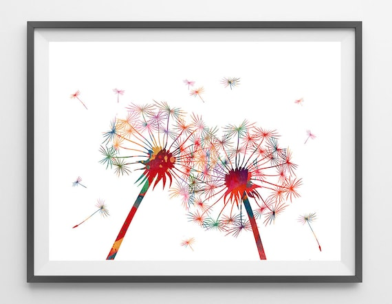 Two dandelions art print watercolor dandelion flowers for Dandelion flowers and gifts