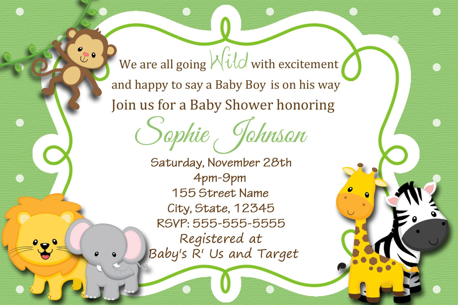 baby safari invitation safari baby shower invitation