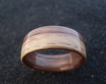 Wood ring - Bentwood oak and walnut ring with copper whire inlay