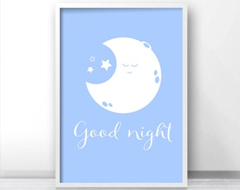 Moon and Stars Nursery Wall Art Print, Baby Wall Art, Blue Nursery Decor, Printable Nursery Art, Good Night Nursery Print, Baby Gift Idea