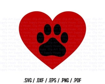 Heart Animal Paw SVG Clipart, SVG Office Wall Art, Pet SVG File for Vinyl Cutters, Screen Printing, Silhouette, Die Cut Machines - CA141