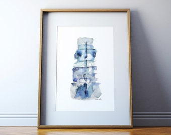 Spine Watercolor Print 3 - Vertebrae Watercolor Print - Anatomy Art