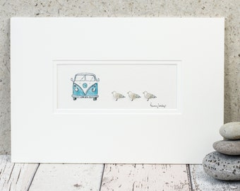 Camper Van and Seagulls Print - 3D Vintage Camper Picture - Fluffy Seagulls and Camper Wall Art