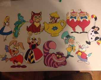 Set of 11 Alice in Wonderland Character die cuts