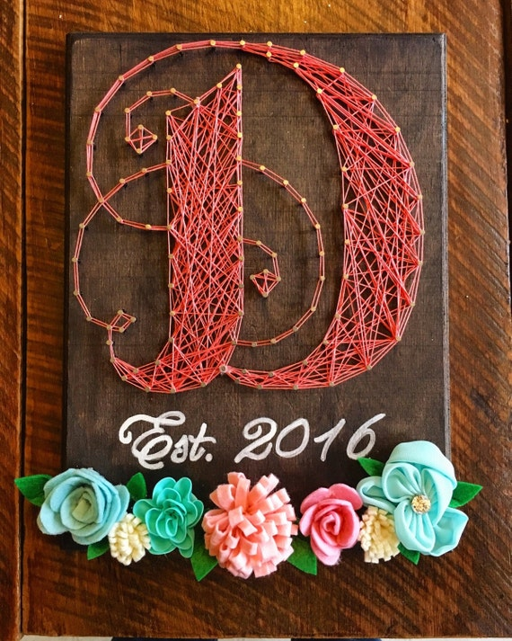 string art letters items similar to custom monogram string with floral 13736 | il 570xN.974953560 3koa