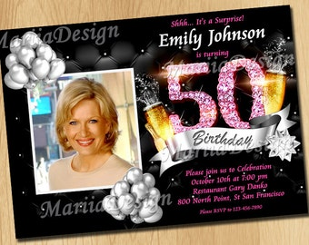 50th birthday invitations. 60th birthday invitations for women. 70th birthday invitations for women. Black and Pink invitation - ONLY FILE