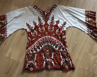 Vintage 70s Dashiki Top Tunic Small