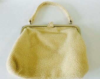 Vintage Off-White Beaded Handbag