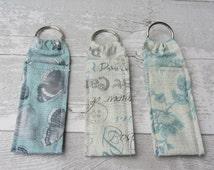 Travel Chapstick Holder - Lip balm Holder - Keyring - Blues and Turquoise - Gift for Her - Teacher Gift - Christmas Stocking - Vintage Style