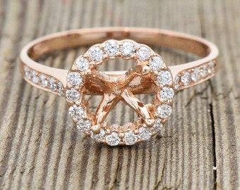 18K Rose Gold & Diamond Semi Mount Engagement Ring 2.6 grams