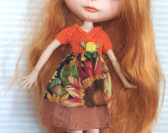 Blythe dress orange with sunflower