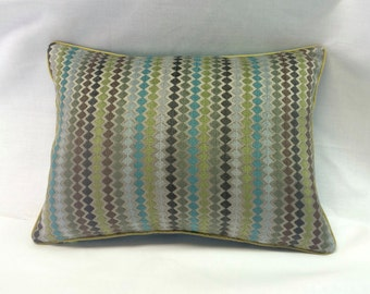 Decorative Throw Pillow Cover - Zig Zag & Diamond - 12X16 Teal, Chartreuse, Taupe - Couch / Accent Pillow
