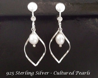 Clip On Earrings with Classy Pearls on 925 Sterling Silver Clip On Earrings | Pearl Earrings, Clip On Earrings, Silver Clip On Earrings