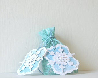 Snowflake Tags: winter princess tags, intricate snowflake, embossed, blue and white, layered pearl snowflake - LRD013TG