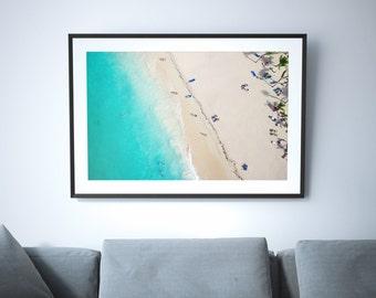 Large Beach Poster Print // Aerial Beach Photography // Turquoise Print // Large Beach Prints // Beach People