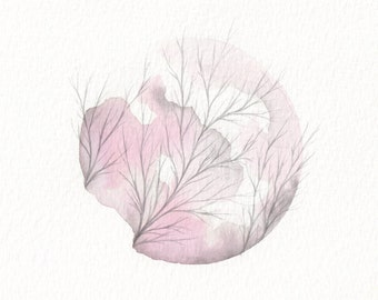 Original Watercolour Painting - Pink Circle with Branches