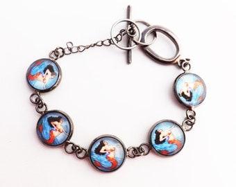 Mermaid Mexican / La Sirena  Loteria  Glass covered  Bezel Bracelet