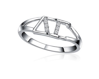 Delta Gamma Ring, Horizontal Design, Sterling Silver (DG-R001)