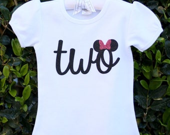 Minnie Mouse shirt, Birthday shirt, Number two, Smash Outfit, second Birthday, onesie, Birthday Outfit, Baby Birthday Outfit