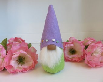 Miniature Gnome,  Swedish Tomte, Spring Gnome, Green and Lavender