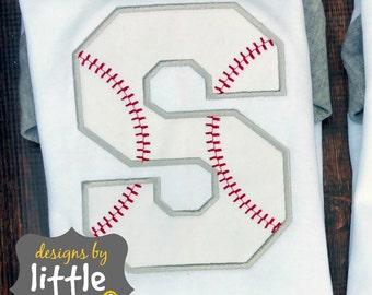 baseball alphabet applique set all 26 letters PLUS bonus free heart. embroidery design 4x4 5x7 7x7 hoop.