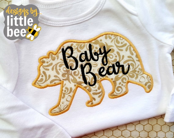 Baby bear little applique new brother or sister sibling
