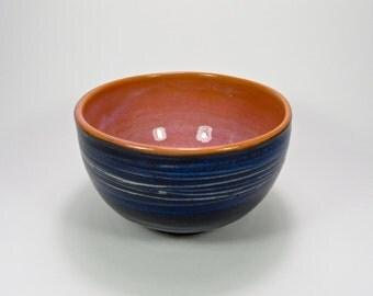 Ceramic Breakfast/Serving Bowl-Stoneware-Gift-Blue-Orange-Design-Artistic-Functional-Food-Craft-Handmade