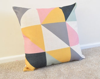 Pink/Yellow Geometric/Scandinavian Cotton Linen Cushion/Pillow Cover in 18 x 18""