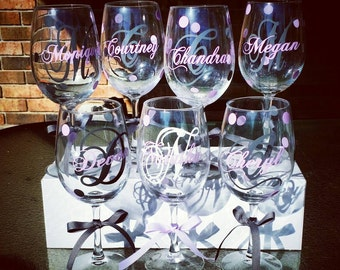 Set of 4 Bridemaids Wine Glasses