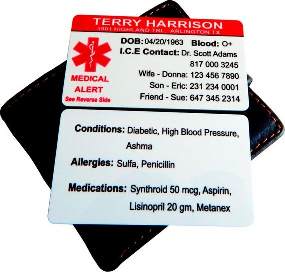 medical alert card template - custom medical info contact cardemergency medical