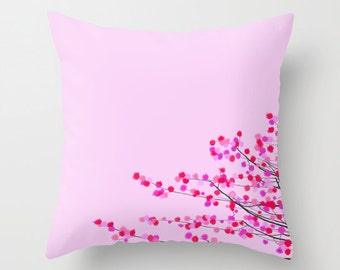 Pink Cherry Blossom throw pillow cover-Japanese flowers pillow-Floral 16x16 pillow-18x18 pillow-20x20 pillow-Cool gifts-Modern pillow cover