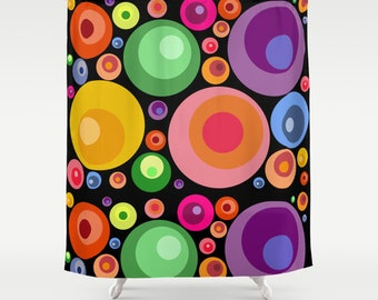 Psychedelic shower curtain-Abstract circles black shower curtain-Cool pop art curtain-71x74 shower curtain-Modern Curtain-Colourful bath