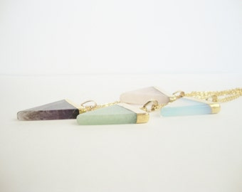 Triangle Necklace: gold chain and pendant triangle stone