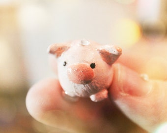 Mini Pig Charm with Svarowski crystals made from Polymer clay!