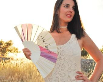 Handpainted handfan / Je Táime/ Bridal / wedding handfan / Hand painted Fan / Wooden handfan / silk handfan / Spanish handfan / romantic fan