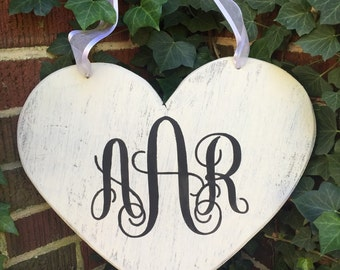Monogrammed distressed wood heart, wood heart sign, monogrammed sign