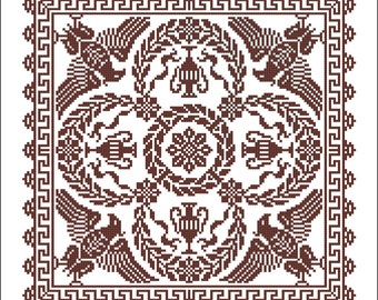 Cross stitch scheme - Square Ancient Heraldic Designs Ornaments - Empire style - Le Filet Ancien - Vintage Lace Designs of France