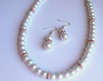 Weddings necklace and Earrings Set, White Glass Pearl Necklace and Earrings Set,White bridal jewelry set, Bridesmaid jewelry set