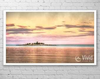 Lake superior art, great lakes photography, pink and yellow, lake sunset, art prints, picture of island, framed artwork, matted print