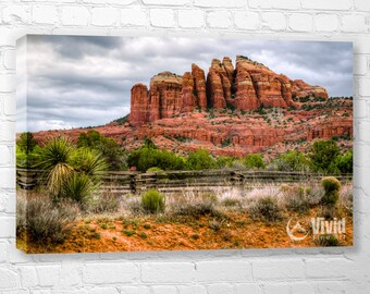 Sedona canvas wall art, arizona canvas fine art, arizona picture, red rock wall art, 4 panel canvas, orange blue wall art, sedona print