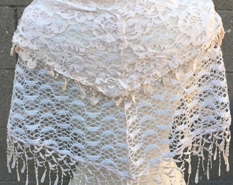 Charming Ivory White Lace Fringed Scarf Thin Lightweight / Bridal Shawl / Wedding Shawl  / Wedding Wrap / Knitted Shawl