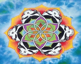 Grateful Dead Stealie mandala long sleeve scoop neck tie dye on Alternative Earth brand with thumb hooks