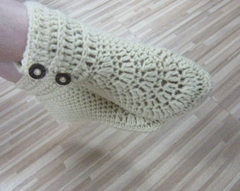 Women's Wool Crochet Wool Slippers, Size 35 and 36, House Shoes, Woolen Crochet Girls Booties, Wool Socks, Ready to ship