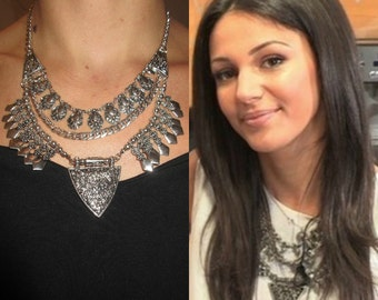 Celebrity Celeb Style Michelle Keegan Necklace Statement Bib Triangle Stud Chain